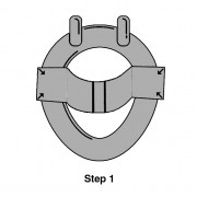 Step 1 – Open the Feces Catcher carefully in the direction of the arrows, and fix on the toilet seat. Avoid getting the Feces Catcher wet with toilet water.